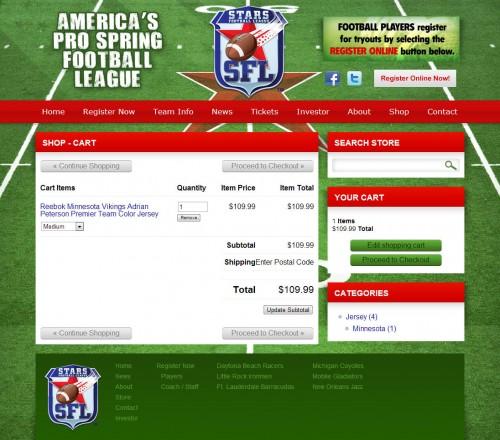 Cart - Stars Pro Spring Football League
