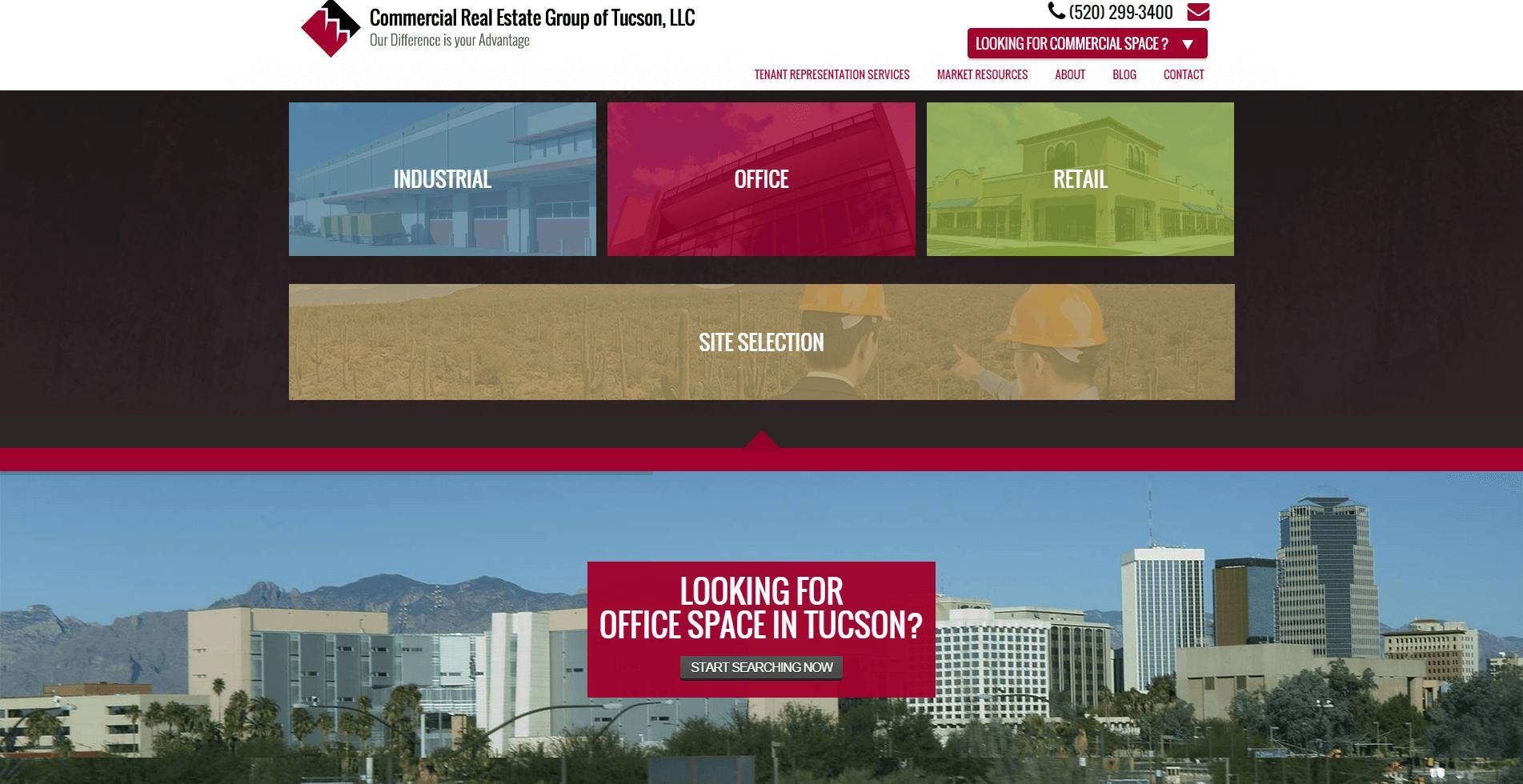 2015 Wordpress Design Portfolio Commercial Real Estate Group of Tucson  LLC Markets