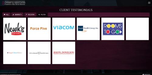 Testimonials Cherry and Associates Commercial Real Estate Web Design