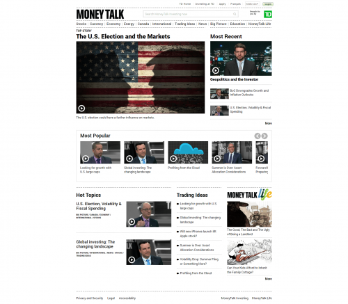 2016 Wordpress Design Portfolio- Money Talk Investing Home Page Desktop
