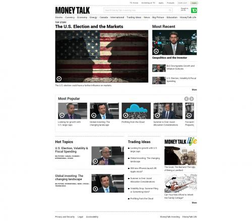 2016 Wordpress Design Portfolio- Money Talk Investing Home Page Desktop