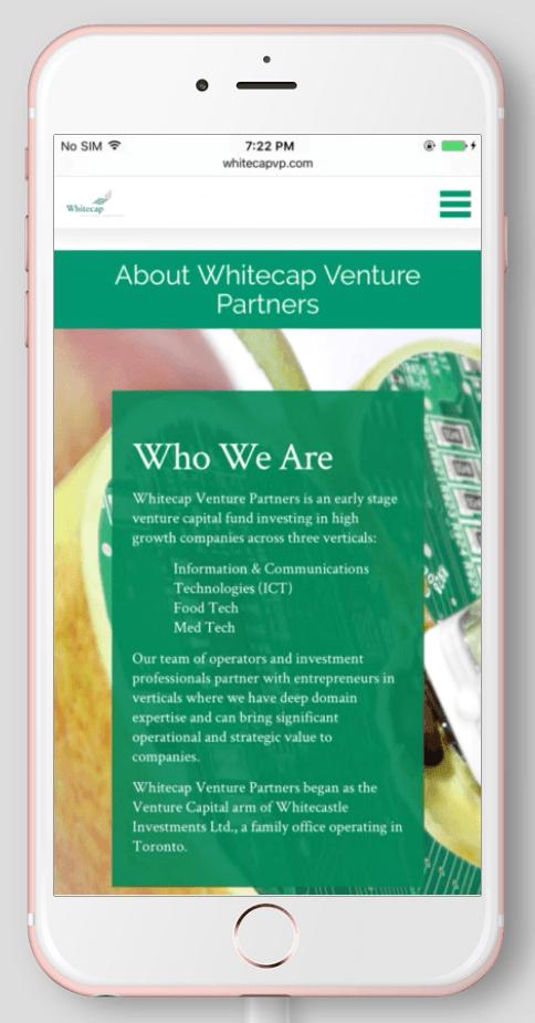 2017 Wordpress Design Portfolio- WhiteCap Venture Partners About Mobile