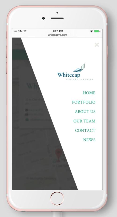 2017 Wordpress Design Portfolio- WhiteCap Venture Partners Home Menu Mobile