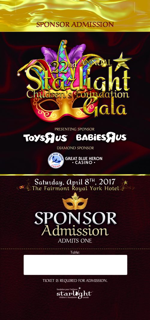 Starlight Children's Foundation Gala 2017 Sponsor Ticket Front